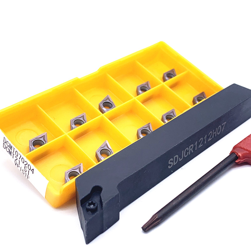10PCS DCMT070204 VP15TF UE6020 US735 Carbide Insert+1PC SDJCR1010H07 SDJCR1212H07 SDJCR1616H07 CNC Cutting Tool Holder Lathe Set