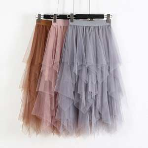 Tulle Skirt Mesh Long Women Irregular Elastic Autumn High-Waist Hem Spring JWHY Ladies