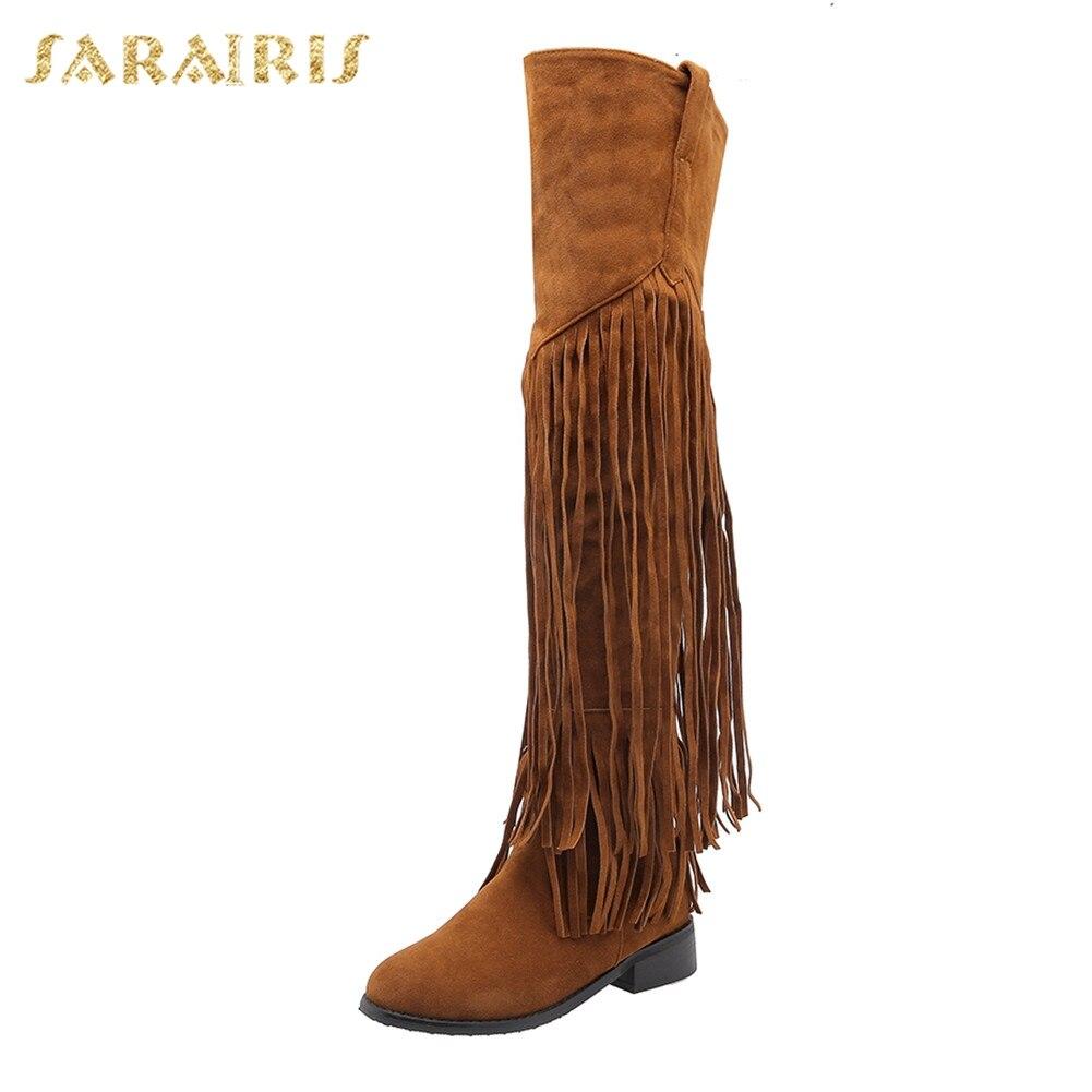 Sarairis Fashion 2019 grande taille 32-46 ajouter de la fourrure automne hiver chaussures femme bottes frange talons Chunky au-dessus des bottes au genou femme