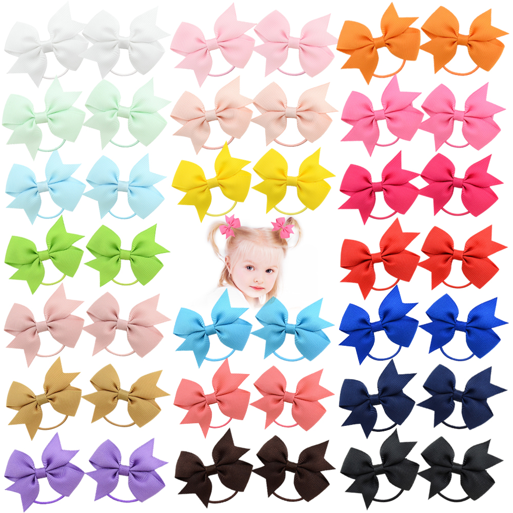 20pcs/lot Solid HairBand Grosgrain Ribbon Ponytail Holder For Baby Rubber Band Girl Hair Rope NewHandmade ScrunchieHairAccessory