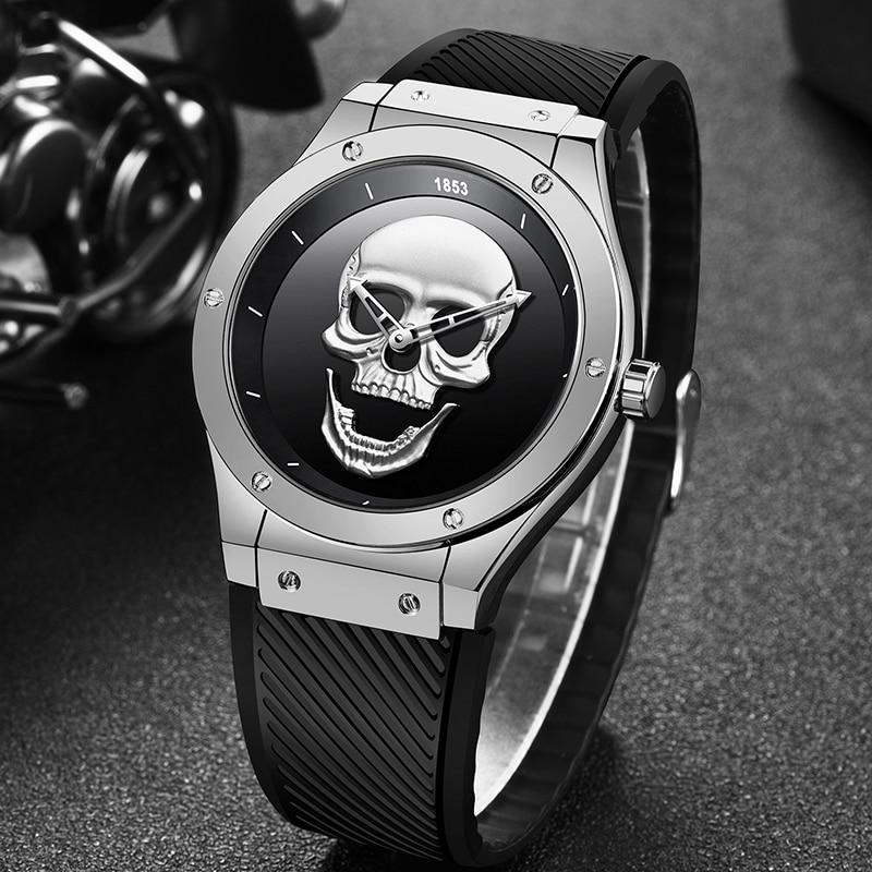 Men 3D Skull Watch LIGE New Fashion Mens Watches Top Brand Luxury Silica Gel Watch Men Quartz Creative Watches Relogio Masculino