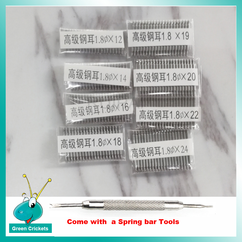 20pcs/lot Watchband Spring Bar 1.8mm Watchband Accessories Stainless Steel Spring Bar Watch Strap Link Pin With Spring Bar Tool