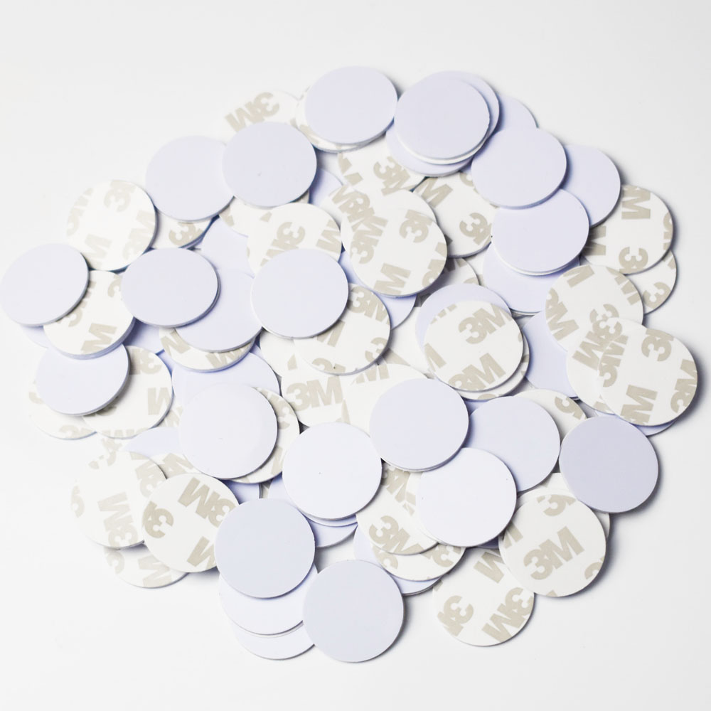 100PCS/LOT 25mm NFC 216 tag Round Shape Coin Cards rfid label sticker <font><b>13.56MHz</b></font> <font><b>ISO14443A</b></font> 888 Bytes For All NFC Phones image