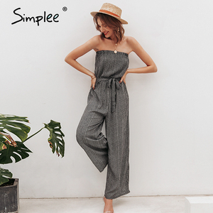 Image 4 - Simplee Off shoulder sexy jumpsuit women elegant Sashes jumpsuit long rompers Summer solid leopard print overalls playsuit 2019