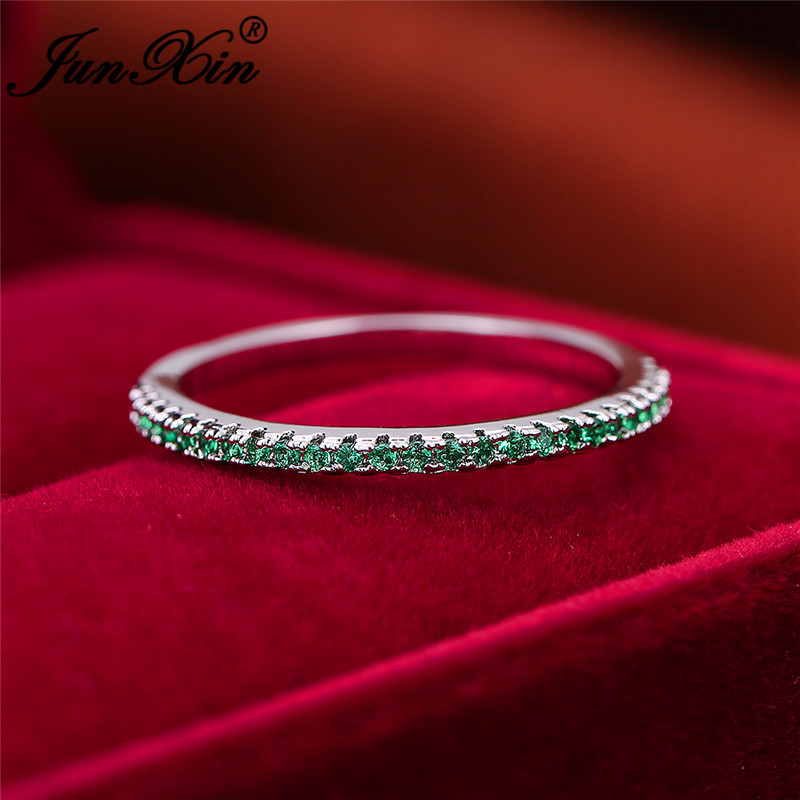 Stackable Single Row Thin Rings For Women 925 Silver Rose Gold Round Zircon Green Red Stone Wedding Stacking Ring Daily Jewelry(China)