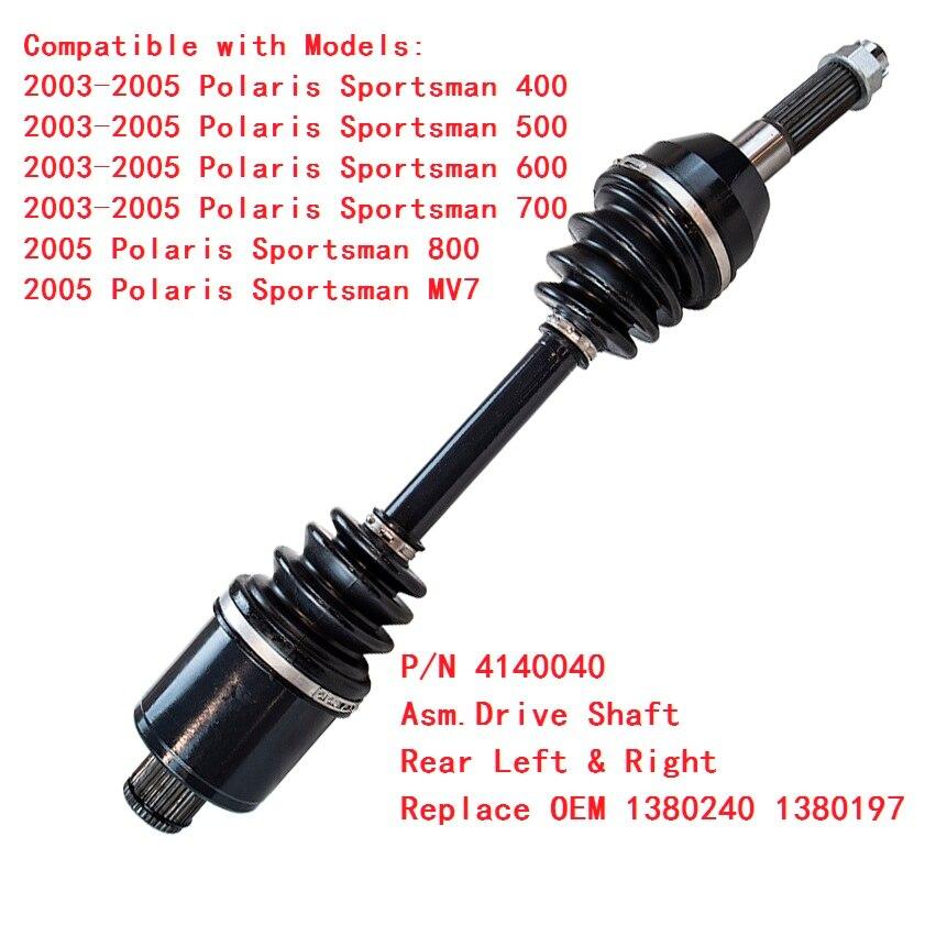 Rear Left Right CV Axle Driveshaft Assy Set for Polaris Sportsman 500 2003-2005