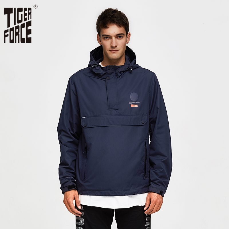 TIGER FORCE Men Jacket Spring Casual Jackets Hoodie Hooded Jacket Side Zipper Front Pocket Coat European Size