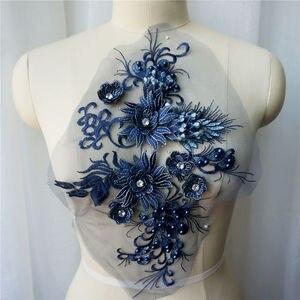 Granatowy kwiat koronki tkaniny koraliki haftowane suknia aplikacje wykończenia kołnierz siatki szyć na wesele sukienka dekoracyjna DIY