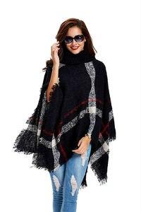 Image 4 - [Visual Axles] 2020 New Fashion Women Winter Warm Wool Plaid Knitting Poncho 7 Colors Provided