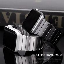 Correa de acero inoxidable para Apple Watch, banda de 44/40mm para iWatch de 42mm/38mm, pulsera de Metal con hebilla de mariposa para Apple watch 6 SE 5 4 3