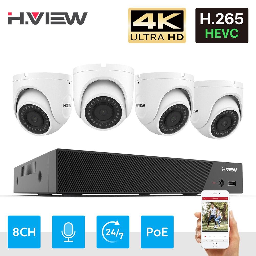 H.View – kit de vidéosurveillance Ultra HD 4K, ensemble de caméras ip poe 8MP, système de vidéosurveillance dôme 8CH, enregistrement Audio H.265, Nvr 1