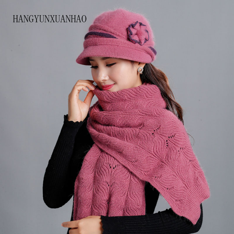 HANGYUNXUANHAO Wool Rabbit Fur Women Knitted Hat Fedora Wide Brim Vintage Fashion Women Hats Winter Neck Warmer Cap With Scarf