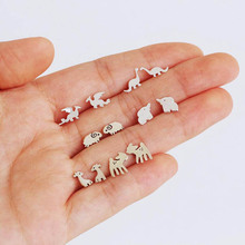 6Pcs/Set Fashion Personality Animals Stud Earrings Exquisite Dinosaur Sheep Elep
