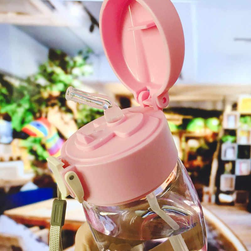 420ML taza de alimentación Linda para bebé con paja BPA libre botella de alimentación portátil a prueba de fugas con mango niños entrenamiento Tritan Bebe Copos