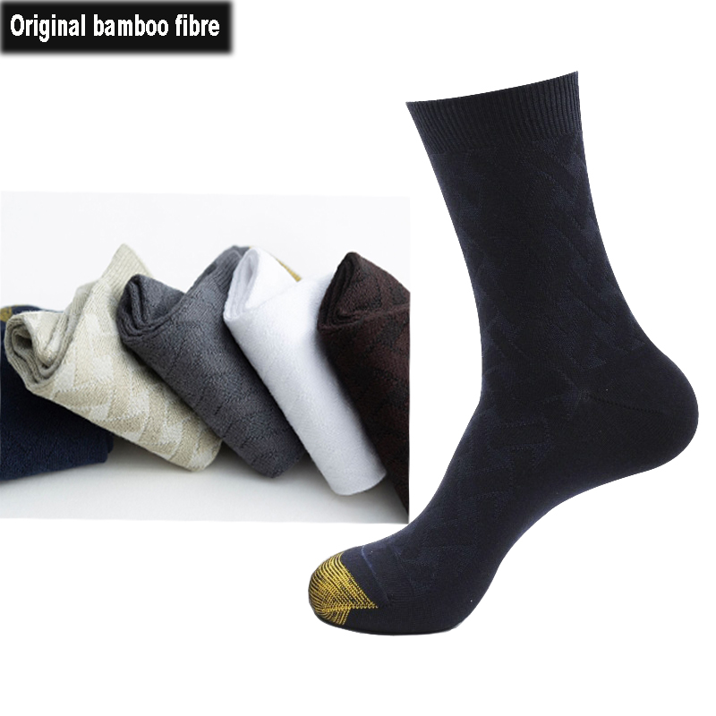 2020 New Original Bamboo Fiber Men Business Socks Breathable Sweat-absorbent Casual Male Socks Antibacterial Comfortable Man Sox