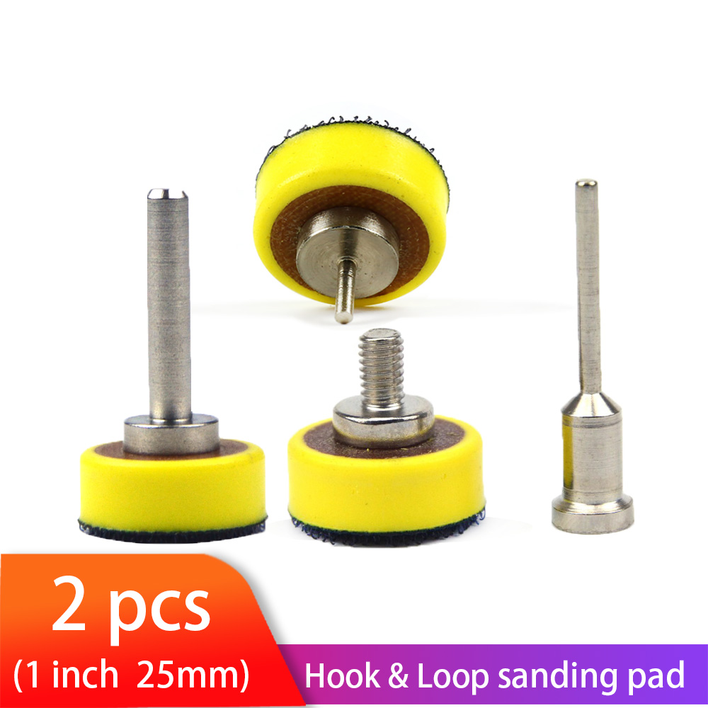 2pcs 1 Inch 25mm Back-up Sanding Pad 2.35mm Shank Or M6 Thread 3mm Shank For Hook And Loop Sanding Discs For Dremel Accessories