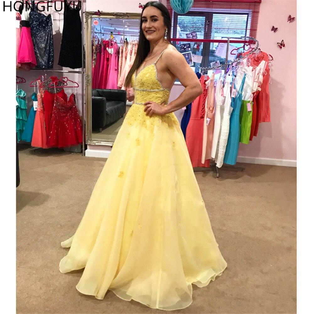 HONGFUYU şifon sarı balo kıyafetleri kristaller spagetti sapanlar uzun örgün abiye giyim aplikler dantel Vestidos de festa Longo