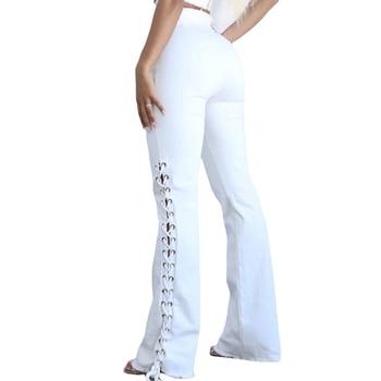 HUAN BEAUTY New Summer Sexy High Waist Hip Side Bandage White Denim Stretch Women Slim Fit Jeans Women HBP90 фото