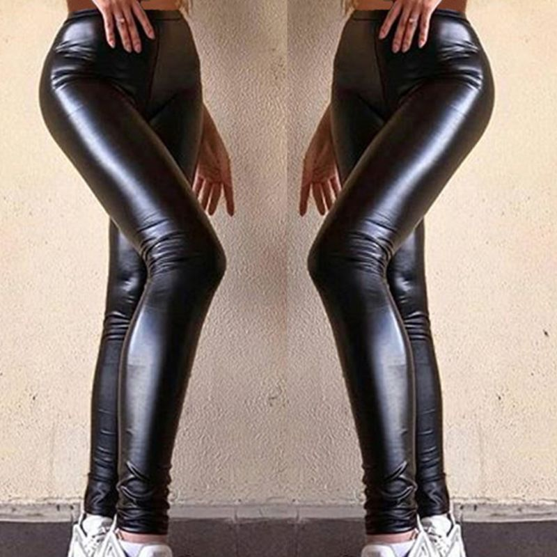 Women Plus Size Faux Leather Pants Black High Waist Lady Female Sexy Skinny Stretchy Trousers Tights For Club Party Casual S-5XL