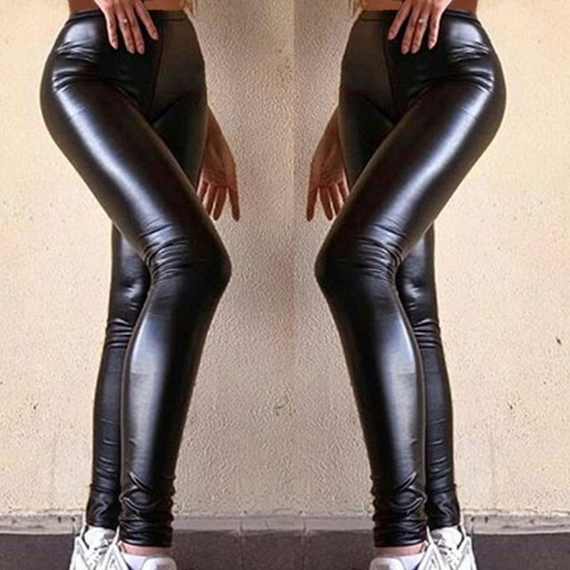 Women Plus Size Faux Leather Pants Black High Waist Lady Female Sexy Skinny Stretchy Trousers Tights for Club Party Casual S 5XL