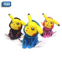 TOMY TAKARA 3 colors 6cm Pokemon windbreaker Pikachu Japanese cartoon character PVC model toy collection children's gifts