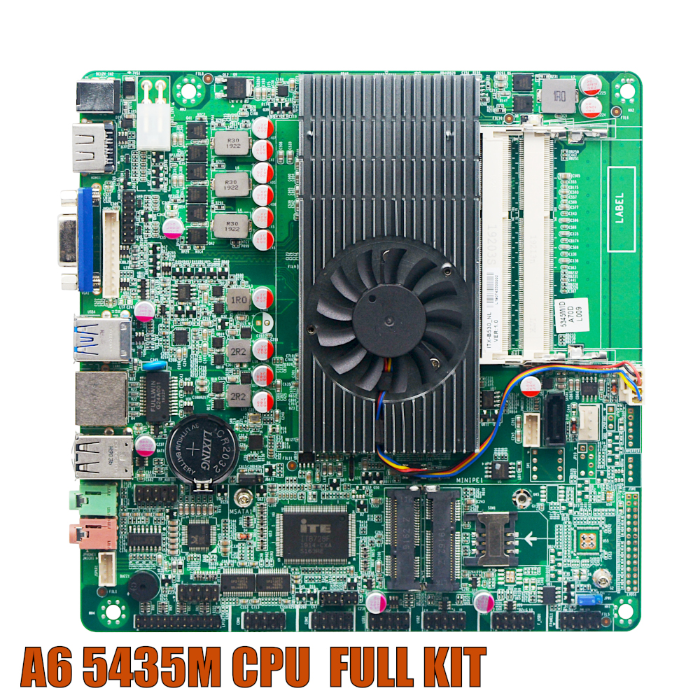 Ultra-thin Mini itx Motherboard Built in CPU A6 5345M HD Video Graph Processing APU USB 3.0 VGA RJ45 HDMI 1080 mSata Use 12V DC image