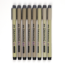 Wissen G-0950T/G-0969T Schwarz Nadel Stift 0,05/0,1/0,2/0,3/0,4/0,5/0,7 /0,8/Pinsel Feine Linie Nadel Punkt Rohr Zeichnung Stift Mapping