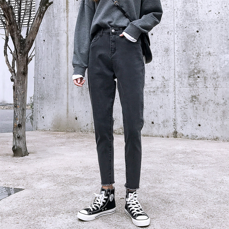 Cotton Jeans Woman High Waist Skinny Jeans Woman Mom Jeans Black 2020 Spring New Black Grey Hot Sale