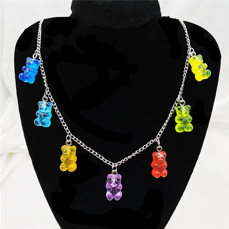 Stainless Steel Handmade Candy 7 Color Cute Judy Cartoon Bear Charm Necklace for Women Girl Daily Jewelry Party Gifts
