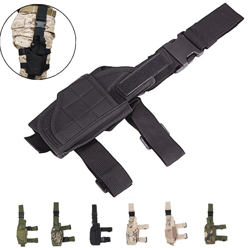 Talla única se adapta a la pistolera de pistola militar táctica caza pistola funda del muslo a la pierna bolsa para Glock 17 19 23 32 36 Beretta M9 92