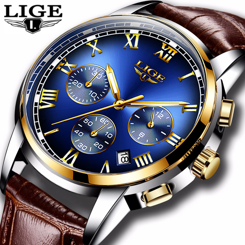 LIGE Fashion Watch Men Sport Waterproof Date Analogue Quartz Mens Watches Top Brand Luxury Business Wristwatch Relogio Masculino