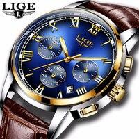 LIGE Mode Uhr Männer Sport Wasserdicht Datum Analog Quarz Herren Uhren Top Brand Luxury Business Armbanduhr Relogio Masculino-in Quarz-Uhren aus Uhren bei