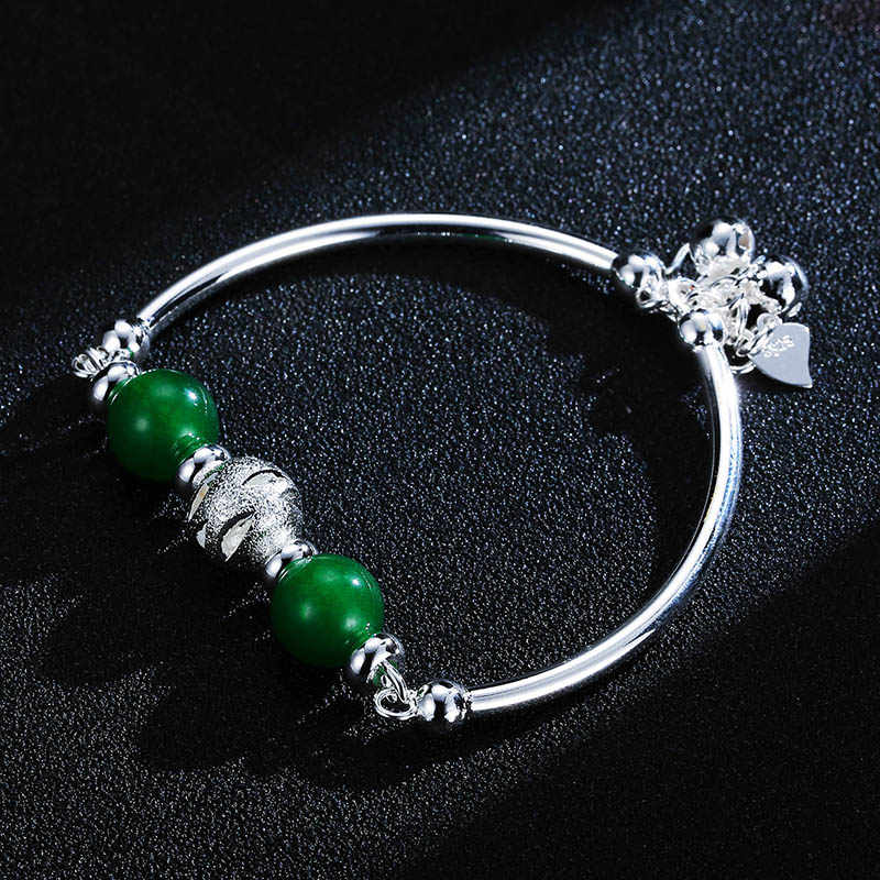 Bague Ringen เงิน 925 สร้อยข้อมือหยกสีเขียว Chalcedony เปิดปรับขนาด Charm ผู้หญิงเครื่องประดับของขวัญ PARTY PARTY ผู้หญิงขายส่ง