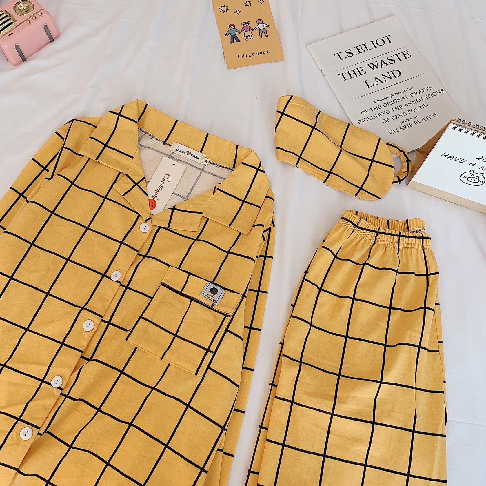 New Kpop Bangtan Boys Cartoon Sleepwear Heart Stripe Print Pajamas Sets Women Harajuku Pajamas Women Shirt Nighty Nightwear Set