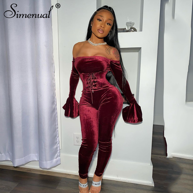 Simenual Velvet Lace Up Flare Long Sleeve Rompers Womens Jumpsuit Fashion Off Shoulder Sexy Party Jumpsuits With Corset Clubwear