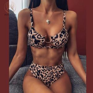 Peachtan Sexy snake print bikini set 2020 new High waist swimwear women Hollow out swimsuit female Brazilian bikini bathing suit