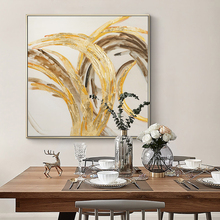 100% Hand Painted Abstract Golden Art Oil Painting On Canvas Wall Art Frameless Picture Decoration For Live Room Home Decor Gift
