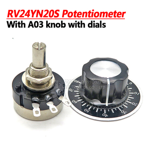 RV24YN20S 1K 2K 5K 10K 20K 50K 100K 200K 500K 1M ohm Single Turn Carbon Film Rotary Taper Potentiometer with A03 knob with dials