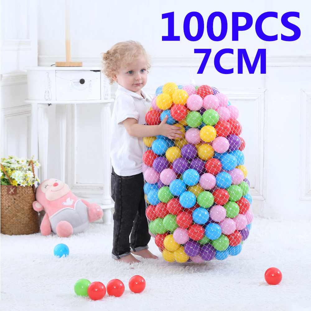 100Pcs Balls Eco-Friendly Colorful Ball Soft Plastic Ocean Ball Funny Baby Swim Pool Pit Toy Water Pool Ocean Wave Balls Dia 7cm