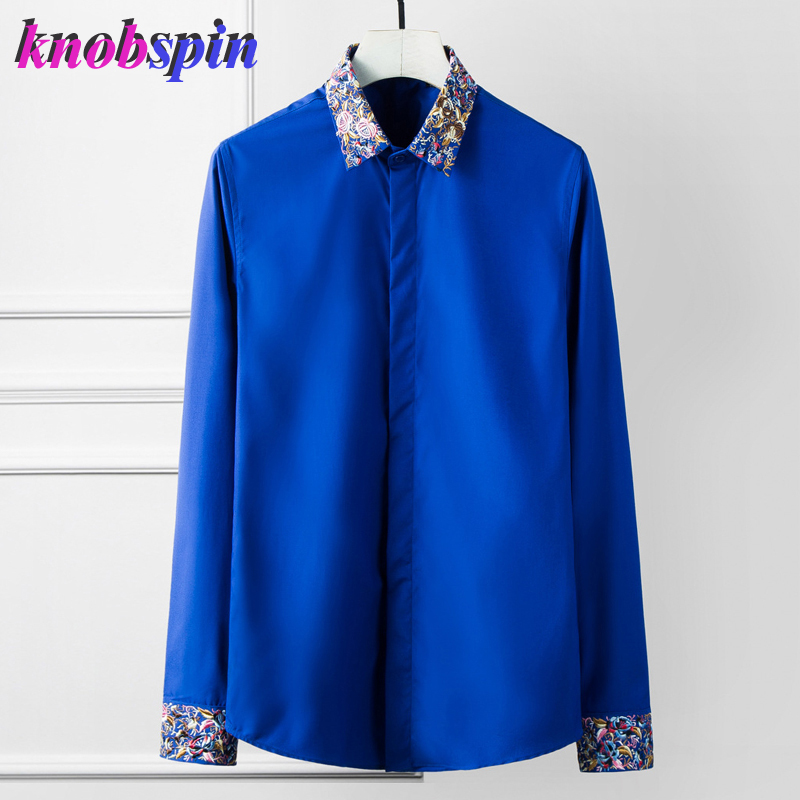 Plus Large Size 4XL 3XL Mens Business Casual Long Sleeved Shirt Classic Embroidery Collar Male Social Dress Shirts 80% Cotton