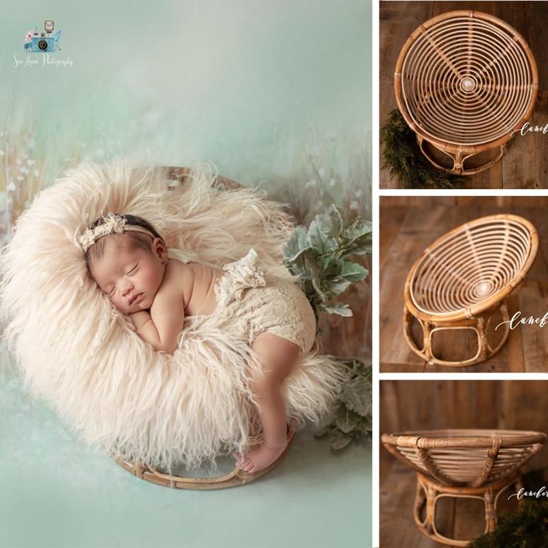 Newborn Photography Props Basket Handmade Vintage Bamboo Chair Baby Boy Photography Props Newborn Ph