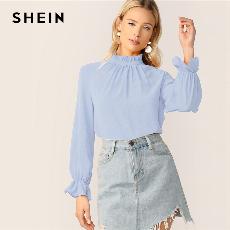 SHEIN Blue Frilled Neck Bell Cuff Top Women Summer Autumn Solid Stand Collar Long Sleeve Elegant Office Lady Tops And Blouses