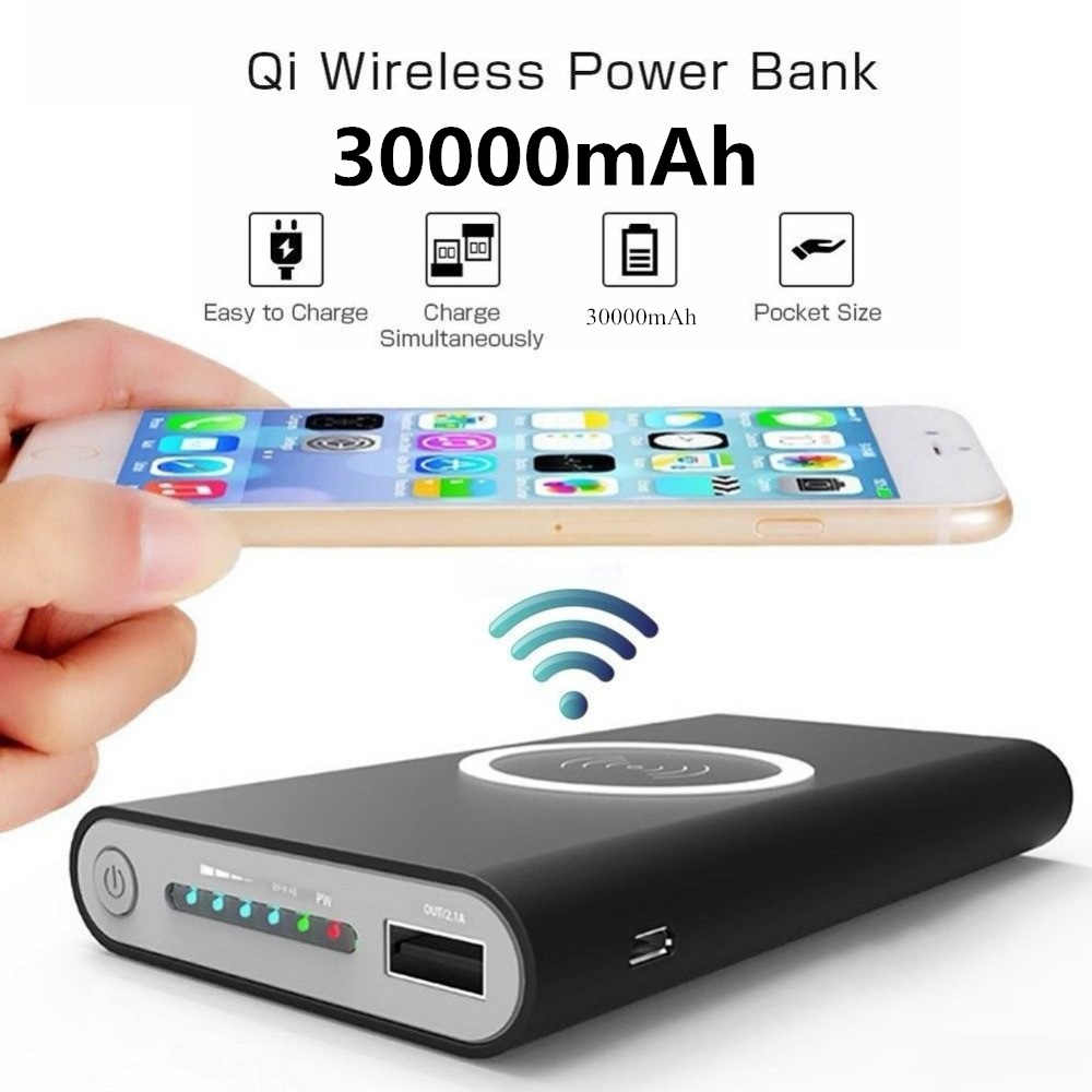Wireless Charger Large Capacity Mobile Power Bank 30000mah Fast Charging Double USB External Battery Portable Charger