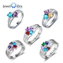 925 סטרלינג כסף אישית אמהות טבעת עם Birthstones Custom חקוק אירוסין מבטיחים כסף טבעות לנשים