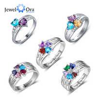 925 Sterling Silber Personalisierte Mütter Ring mit Birth Custom Graviert Engagement Versprechen Silber Ringe für Frauen