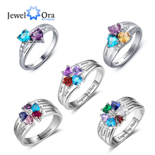 925 Sterling Silver Personalized Mothers Ring with Birthstones Custom Engraved Engagement Promise Silver Rings for Women
