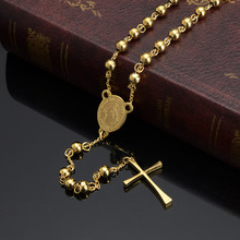 цена на Jesus Cross Pendant Necklace Stainless Steel Gold Color For Women Religious Christian Jewelry Rosary beads Simple Gifts