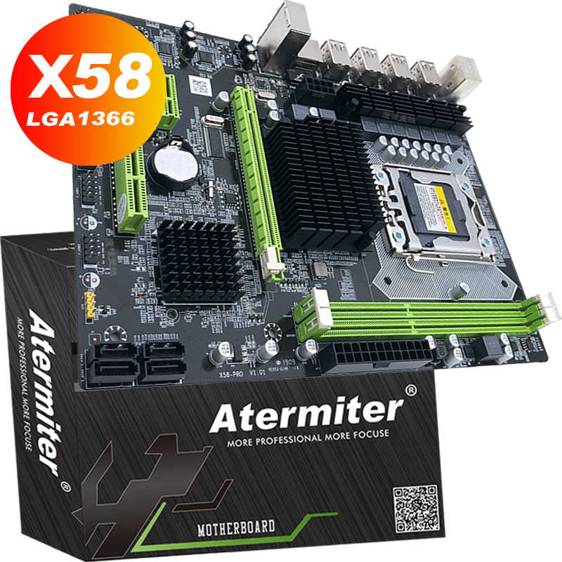 Atermiter x58 lga 1366 placa-mãe suporte reg ecc servidor de memória e xeon processador suporte lga 1366 cpu x58