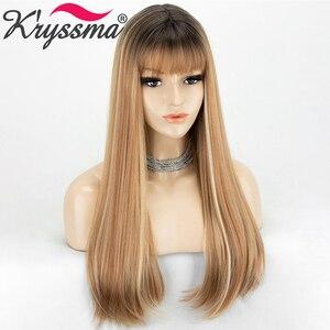 Image 3 - Perucas sintéticas longas retas com franja destaque mel loira ombre cosplay perucas para mulheres preto marrom raiz peruca resistente ao calor