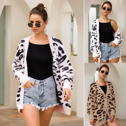 Western autumn and winter outerwear womens sweater tricolor leopard print long sleeve cardigan sweater Free Shipping